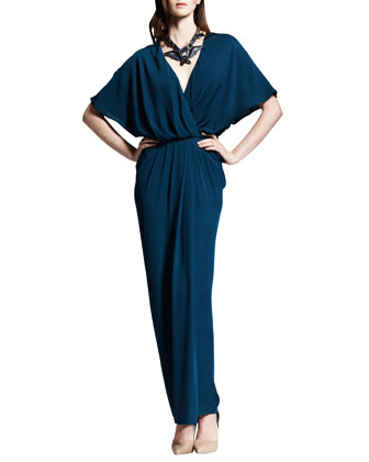 Blouson To-The-Floor Dress, Blue Canard