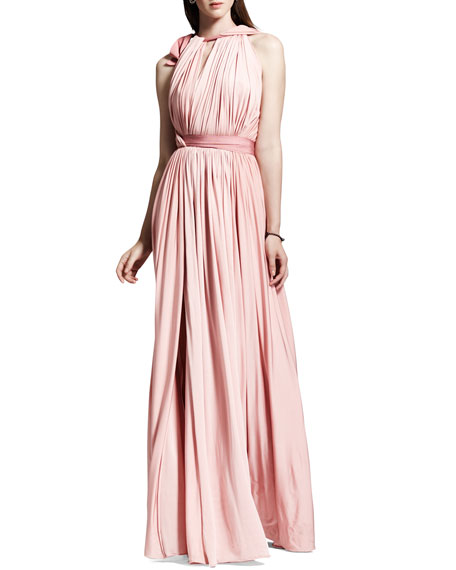 Grecian Liquid Jersey Gown, Rose