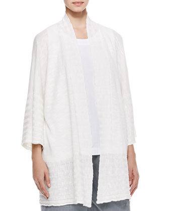 Oversized Rib Detail Cardigan, White