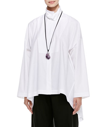 eskandar Hi-Low Shirt with 2 Collars, White