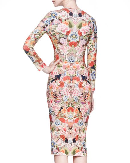 Floral-Print Jersey Sheath Dress, Pink/Multi