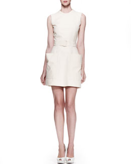 Alexander McQueen Patch-Pocket Twill Dress, Straw