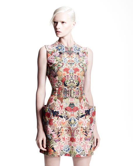 Patch-Pocket Floral Dress, Pink/Multi
