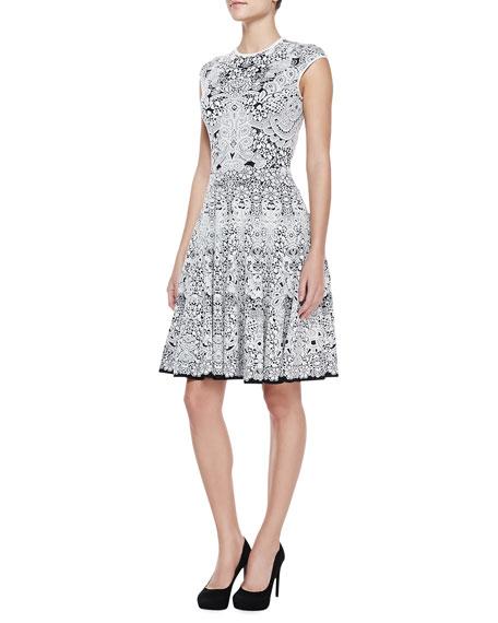 Lacy Full-Skirted Knee-Length Cap-Sleeve Dress, Black/White
