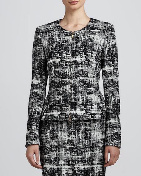 Scribble Tweed Jacket, Black/White