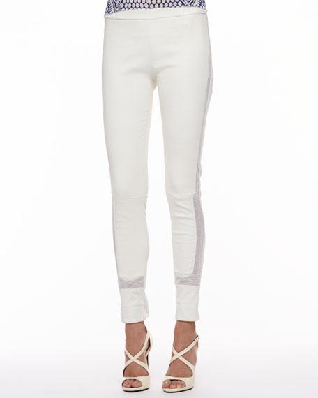 Lace-Trim Leather Leggings, Milk