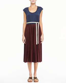 Marc Jacobs Bicolor Pleated Tie Dress