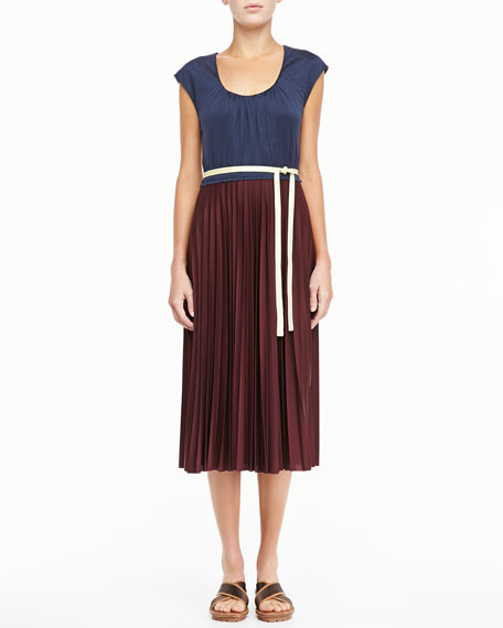 Bicolor Pleated Tie Dress