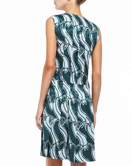 Printed Paneled Pleat Dress