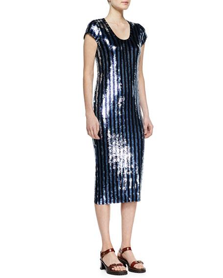 Striped Sequins Midi Dress