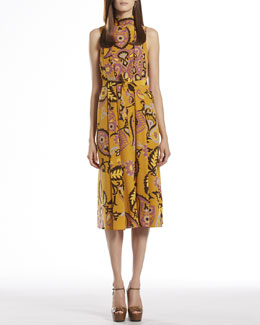 Gucci Paisley Print Silk Back-Neck Tie Dress