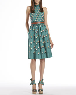 Gucci Beach Ball Print Silk Halter Dress