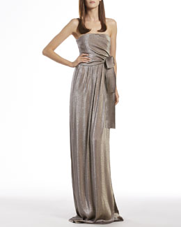 Gucci Metallic Gray Side Draped Gown