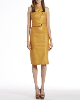 Gucci Nectarine Belted Waist Leather Dress