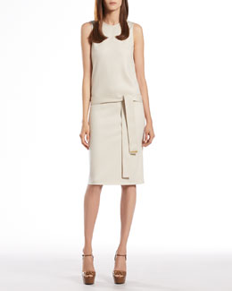 Gucci Clay Wool Jersey Sleeveless Dress
