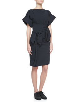 Bottega Veneta Gathered-Waist Dress, Dark Navy