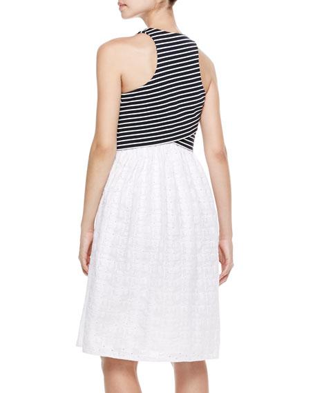 Striped-Cross-Front Combo Dress