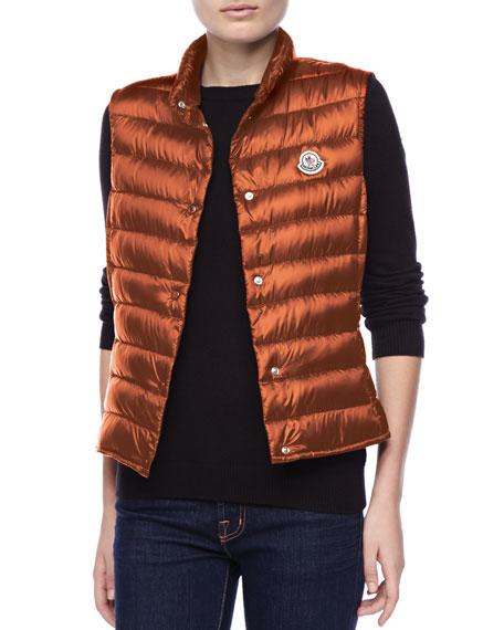 Puffer Vest with Sheen, Orange