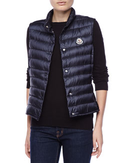 Moncler Snap Puffer Vest, Royal