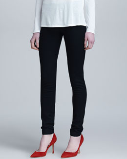 Pull-On Denim Leggings, Black