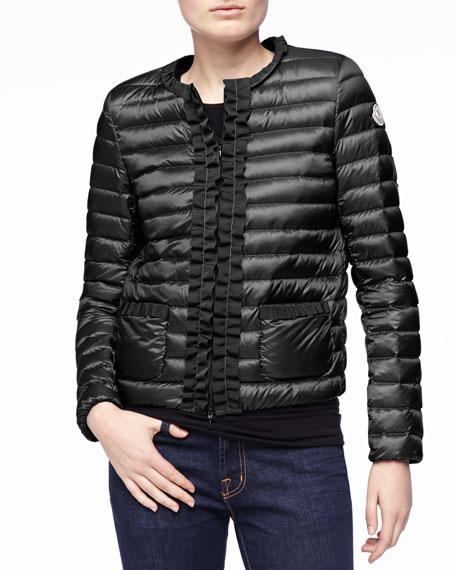 Ribbon-Trim Puffer Jacket, Black