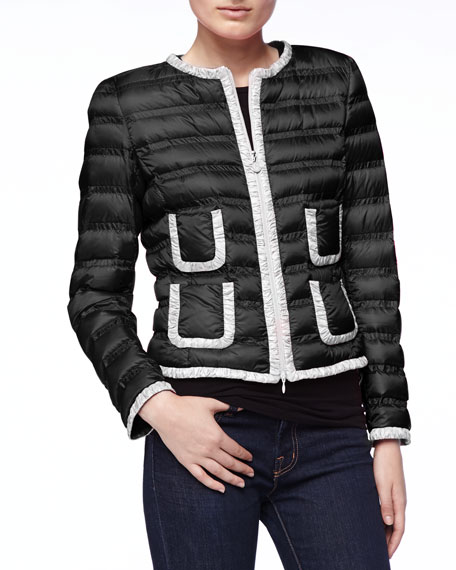 Contrast-Trim Zip Puffer Jacket, Black/White