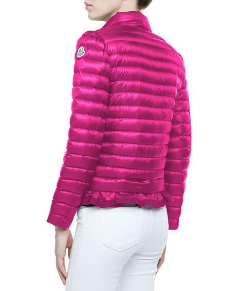 Peplum Puffer Jacket, Fuchsia