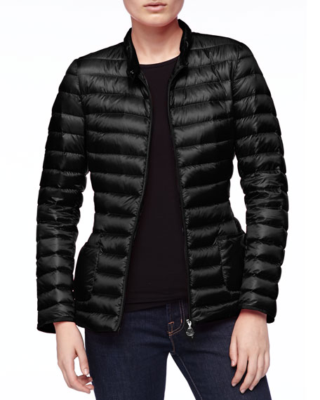 Chain-Belt Puffer Jacket, Black