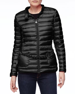 Moncler Chain-Belt Puffer Jacket, Black