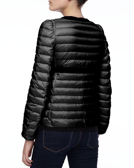 Solid-Trim Zip Puffer Jacket, Black