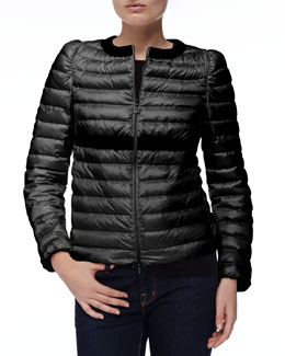 Moncler Solid-Trim Zip Puffer Jacket, Black
