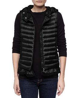 Moncler Hooded Peplum Puffer Vest, Black
