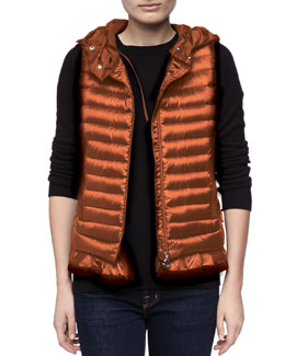 Moncler Hooded Peplum Puffer Vest, Orange