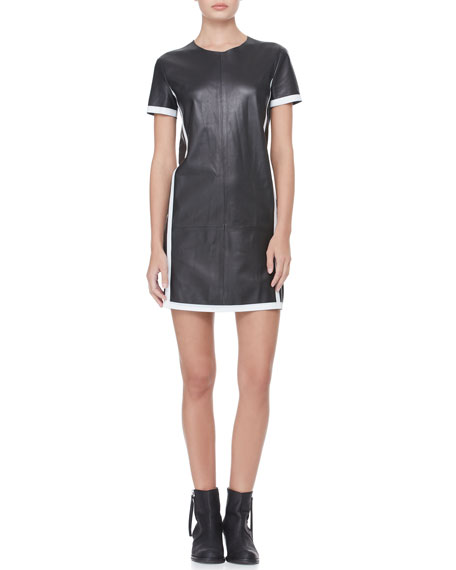 Short-Sleeve Contrast Leather Dress