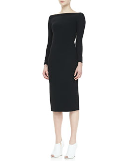 Burberry Prorsum Long-Sleeve Cutout-Back Dress, Black