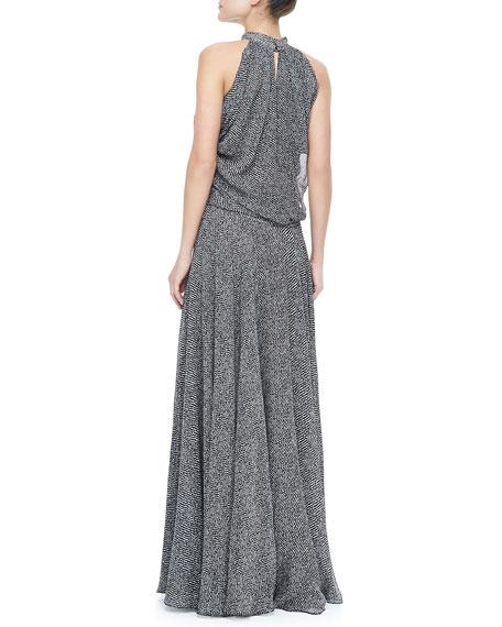 Gathered Silk Chiffon Gown, Black/White
