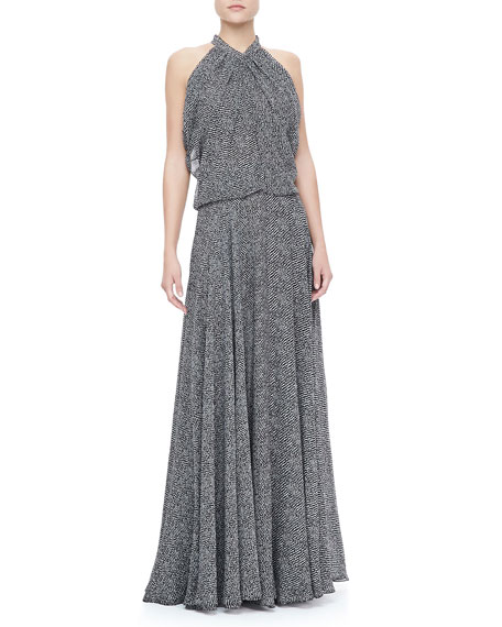 Gathered Silk Chiffon Gown, Black/White