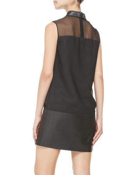 Tuxedo Dress with Leather Hem, Black