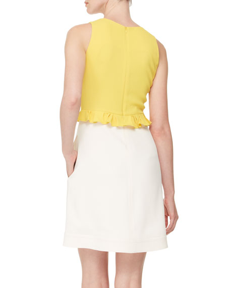 Bicolor Tank Dress, Yellow/White