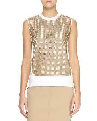 Sleeveless Perforated-Leather-Front Top