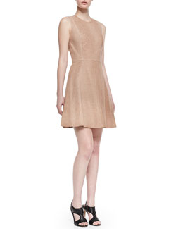 Cushnie et Ochs Paneled Crocodile-Print Leather Dress