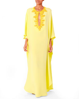 Emilio Pucci Long Beaded Keyhole Caftan