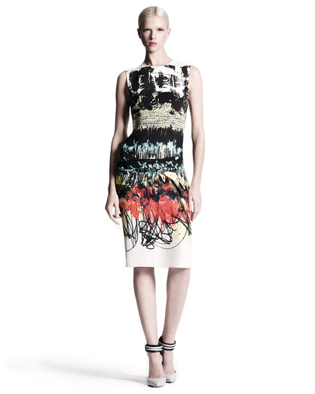 Abstract-Print Dress, Green/Yellow/Red
