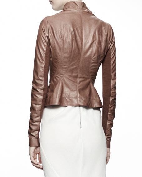 Princess Biker Leather Jacket, Caramel