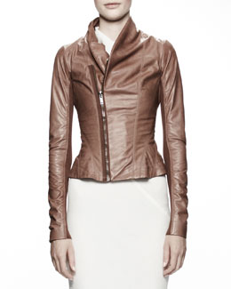 Rick Owens Princess Biker Leather Jacket, Caramel