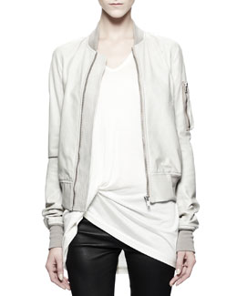 Rick Owens Flight Bomber Jacket, Pearl White