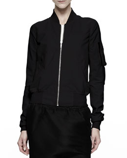 Rick Owens Cropped Flight Bomber Jacket, Black