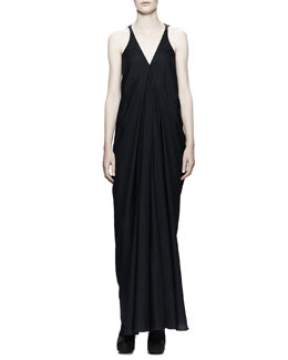 Rick Owens Aurora Plunging-V Gown Dress, Black