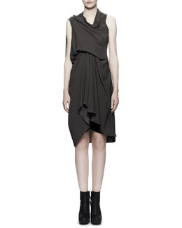 Rick Owens Draped Tornado Dress, Dark Dust Gray