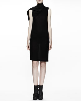 Rick Owens Calla Leather-Collared Tunic Dress, Black